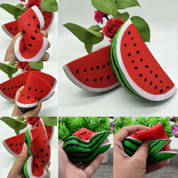 Wholesale Soft Toy Fruits - Artificial Watermelon Soft Squishy Scented Fruit Toy Slow Rising Relieves Stress Anxiety Decoration Squeeze Stuffed Kids Toys OOA4823