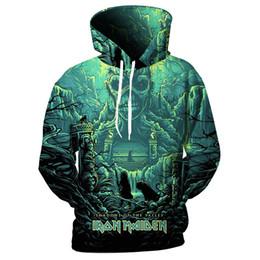 2019 impressão do hoodie da faixa Cloudstyle Crânio 3D Hoodies Homens Iron Maiden Banda Sombras do Vale 3D Impressão Moda Camisolas Streetwear Pullovers Top impressão do hoodie da faixa barato