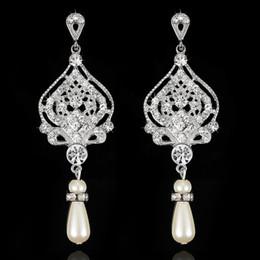 Stunning New Arrival Art Deco Crystal Pearls Rhinestones Wedding Dangle  Earrings Bridesmaids Earrings Bridal Drop Earrings Women ac21c3ba6eee