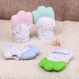 Wholesale Infant Silicone - Silicone Baby Mitts Teething Mitten Glove Teething Chewable Newborn Nursing Teether Beads Infant BPA Free Sound Teethers Xmas Gift A8235