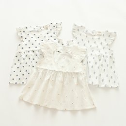 Wholesale Christmas Tree Tutu Dress - New Euro Fashion Girl Lolita Dress round collar flying sleeve little tree or dots print white dress summer comfortable elegant girl dress