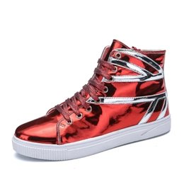 Wholesale Boys Street Dance - Men's high-waist sports shoes youth red bright patent leather light leather casual shoes boys street dance tidal shoes