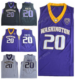 Wholesale College Sport Teams - Markelle Fultz College Jersey 20 Basketball Washington Huskies Jerseys Men Sports Uniforms All Stitched Team Black White Purple High Sale