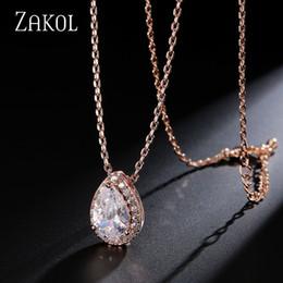 Wholesale Tear Crystal Water Drop Necklace - ZAKOL Trendy Water Drop CZ Zircon Pendant Chain Necklaces Sparkling Tear Drop Zirconia Crystal Wedding Jewelry For Women FSNP008