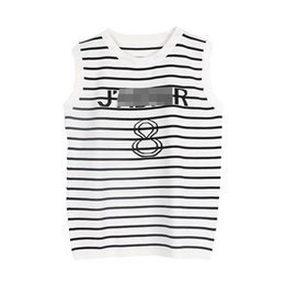 Wholesale numbers vests - 2018 Summer Ladies Tees Stripe Basic Casual New Fashion Letter Number Vest T-shirt Runway Designer Tops T Shirt Women Top Femme