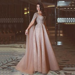 Wholesale Nude Women Prom - Said Mhamad Evening Dresses With Wrap Major Beading Sequins African Prom Dresses Long Back Zipper Tulle Formal Women Wear Party Gowns