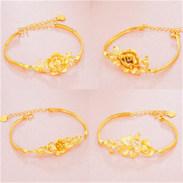 Wholesale Pure Gold Ornaments - Gold bracelet gilded Peacock cashmere imitation gold bracelet female sand flower lady butterfly pure brass ornaments