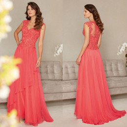 coral mother bride dresses Coupons - Coral V Neck Mother Of The Bride Dresses Sequins Lace Applique Full Length A Line Wedding Guest Dress