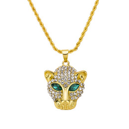 Wholesale Gold Leopard Head Necklace - Free shipping Fashion Long Necklace Gold Plated Hip Hop Cuban Link Chain Leopard Head Crystal Pendant Necklaces Men Jewelry
