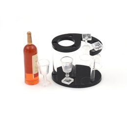Wholesale wine rack wood - 2 sets Wood Wine Racks Wooden Wine Holder Stand Champagne Bottle, Rack, Glasses Cups Dollhourse Kitchen Accessories