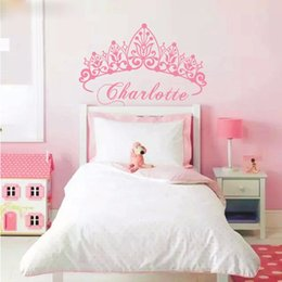 Wholesale Wall Decals Baby Girl - T07033 Eco-friendly Baby Girl Crown Wall Sticker Custom Name Decals Wall Sticker Kids Room Girls Bedroom Wall Art Decoration