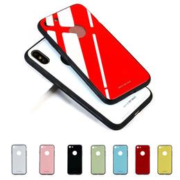 Caja de los vidrios del gel online-Nuevo para iPhone X 8 Plus Ultra Thin Glass Tempered Back Fundas de teléfono Gel de parachoques Color original A prueba de golpes para iPhone 6 7