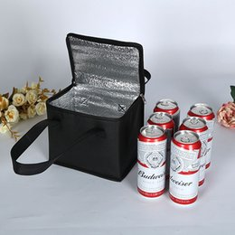 Wholesale beverage coolers wholesale - Lunch Insulation Storage Box Black Non-woven fabric Square Package Thermal beer Cooler bag Outdoor Travel picnic food Storage handbag FFA422