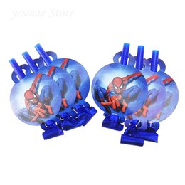 Wholesale Baby Spiders - 6Pcs lot Spider Man Cartoon Funny Whistles Childrens Birthday Party Blowing Dragon Blowout Baby kids birthday party decoration