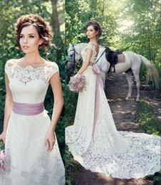 Wholesale Modify Dress - Elegant 2018 New Full Lace Wedding Dresses Off Shoulder Cap Sleeve Ribbon Sash Modified A Line Bridal Gowns Custom Made