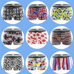 Wholesale Cartoon Boxers - 50pcs lot New Mens Underwear Boxers Geometric Cartoon Printed Underwear Men Boxer Breathable Underwear Men Pouch L-XXL