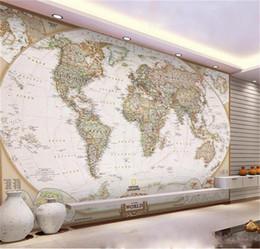 2019 papel de parede de madeira falso Personalizado 3d foto papel de parede mural sala de estudo fresco cor mapa do mundo foto imagem pintura TV fundo papel de parede da parede não-tecido adesivo de parede