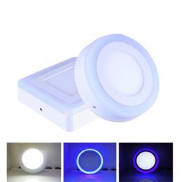 Panel led azul online-6W 9W 16W 24W Azul + blanco Redondo / Cuadrado Sin corte Doble color Panel de luz Superficie montada Downlight Led luz de techo