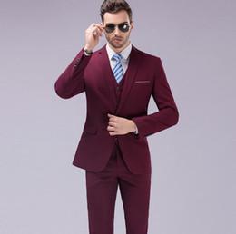 Wholesale Dark Red Vest Wedding Suit - New Men's Suits Business Casual Contracted Joker Wedding Suit Blazers Mens Slim Fit Suit High Quality (Jacket+Pants+Vest)