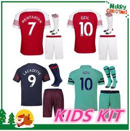 0982034a769 2018 2019 Arsenal kids kit Soccer Jerseys 18 19 LACAZETTE MKHITARYAN XHAKA  RAMSEY WILSHERE AUBAMEYANG OZIL home men child Football shirts