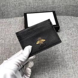 Titular de la tarjeta de visita de cuero negro online-Bolso de la moneda del monedero de la manera del cuero auténtico del zurriago de los hombres ID del banco del negocio Titular de la tarjeta de crédito Titular de la cartera negro Bolsillo del dinero 2019 Nuevo