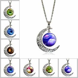 Wholesale Gem Stars - 2018 universe Sky Stars moon time gem necklace Cabochon pendants fashion jewelry for women girls Christmas gift drop ship 161440