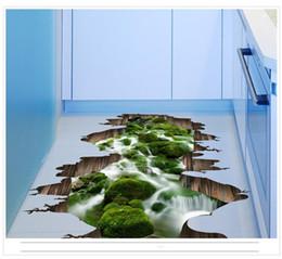 2019 adesivos de chão impermeável 3D Stream Floor Decor Adesivo de Parede Piscina Padrão Lotus Mural Removível PVC Decalques Impermeáveis Para Decoração de Casa Paredes Arte 4k BB adesivos de chão impermeável barato