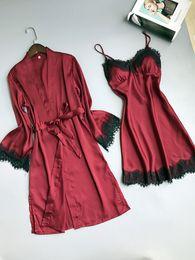 Wholesale Nightgown Sets - New 3 Colors Women's Eyelash Lace Silk Satin Pajamas Dresses Set Sleepwear Ladies Nightwear Sexy Nightgowns Sleepshirts night-robe