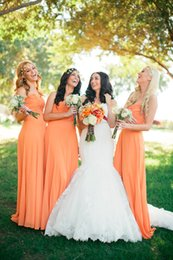 Wholesale Green Colored Wedding Dresses - Coral Colored Bridesmaid Dresses Long Cheap Chiffon Wedding Guest Party Dresses Pleated Semi Formal Dresses Floor Length