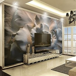Wholesale rose paintings - Custom Mural Wallpaper Wall Painting 3D Relief Rose Flower Wallpaper For Living Room Sofa TV Background Wall Mural Home Decor 3D