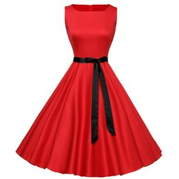 Wholesale Print Audrey - Wholesale-women summer print dress plus size long vintage dress Audrey Hepburn Swing Floral Women Retro Rockabilly 50s 60s Vintage Dress