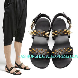 84bb651fa3986 Summer Beach Sandals Men Flats Rivets Studded leather Gold Buckle Mens  Sandalias Casual Shoes Hot Punk Gladiators