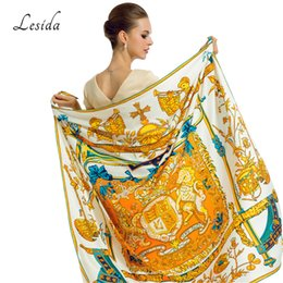Wholesale Large Horse - LESIDA Spring Twill Silk Scarf Women Luxury Brand Horse Print Shawl Bandana Ladies Large White Square Scarf Wrap 130*130CM 1330