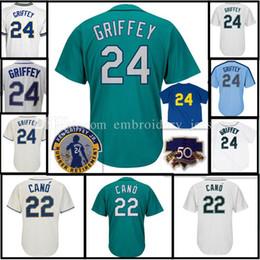 Wholesale Grey Baseball Jerseys - Mens 24 Ken Griffey Jr. 22 Robinson Cano cool flex Baseball Jersey Stitched Baseball jerseys free shipping