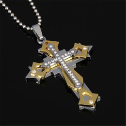 Wholesale Multi Cross Necklace - New wholesale Pendant Necklaces Titanium steel multi-drill cross necklace men's bible tide men's accessories free shipping