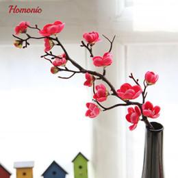 Wholesale Orange Blossom Flower - Artificial Plum Blossom Floral Arrangement Cherry Blossoms Home Decoration Wedding Fake Flowers Arreglos Florales Artifical