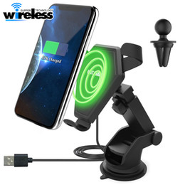 Wholesale Gravity Charger - universal Fast Qi Wireless Charger 2 in 1 Car Mount Phone Holder Gravity Reaction for iPhone 8 Plus X Samsung s8