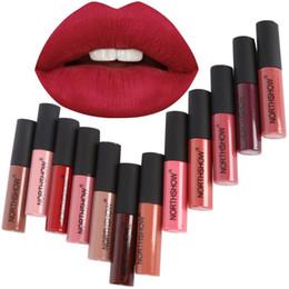 Brillo de labios mate de terciopelo online-Nueva Marca Northshow Liquid Matte Lipstick Impermeable Sexy Red Lip Lipgloss Crema Hidratante Terciopelo Mate Brillo de Labios Tinte de Maquillaje
