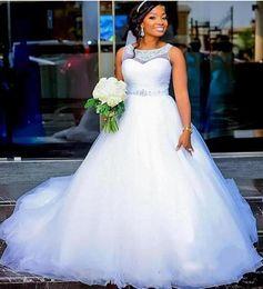 Robes de mariée pas cher Plus Size avec pure Jewel Neck argent perles Sash Puffy une ligne africaine robe de mariée robe robes de mariée De Noiva ? partir de fabricateur