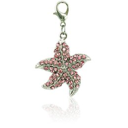 Wholesale Jewelry Making Starfish Charms - Fashion Floating Lobster Clasp Charm Dangle Alloy Rhinestone Starfish Animal Charms DIY For Jewelry Making Accessories
