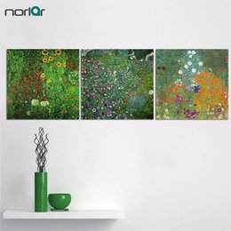 Wholesale Gustav Paintings - Gustav Klimt Flowers Printed Painting On Canvas Wall Art Picture For Living Room Home Decor Or Hotel Unframed