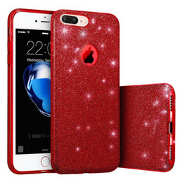 Wholesale Glitter Silicone Iphone Cases - for Iphone x 3in1 Bling Glitter TPU Silicone+PC Women Cases for iPhone 6 6S Phone 7 7plus 8 8plus x