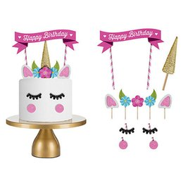 Wholesale cute party cakes - Cute Unicorn Cake Topper Set Kid Baby Shower Birthday Party Cupcake Flags Decor Pink Unicorn Party Cupcake Decoration BBA113