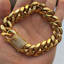 Wholesale 14mm Men Bracelet - Wholesale Price Stainless Steel 18K Gold Plated Hip Hop Men 14MM Width 8.5 Inches Length Cuban Gold Link Chain Bracelets