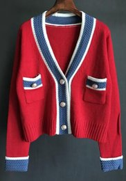 Wholesale cardigan college sweater women - 2018 New design fashion women's spring v-neck color block college style coarse wool knitted thickening sweater coat cardigan short casacos