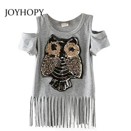Wholesale Chiffon Tops For Kids - Sequins Owl Kids girls T shirt Short sleeve children t shirts for girl top clothes clothing Summer Spring