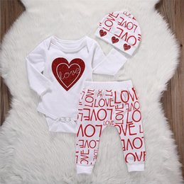 Wholesale Love Baby Clothes - INS 3pcs suit Newborn Infant Baby Girl Love Heart Romper+letter Pants hat Outfits Set Clothes kids girls cloth B11