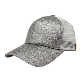 b13bff9da2e4b 2018 fashion Women Ponytail Baseball Cap Sequins Shiny Messy Bun Snapback  Hat hat summer beach sun Caps gorras para hombre A8
