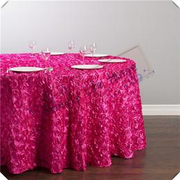 Cor cetim fúcsia on-line-Cor fúcsia 90 polegadas Rodada Frete grátis 5 pcs 3D Satin Rosette toalhas de mesa / cetim Casamento tampa da tabela de propagação / festa de decoração do evento