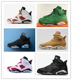 Wholesale Height Increasing Shoes Size 13 - Retro 6s Gatorade Green Suede UNC Blue Golden Harvest Black cat Carmine Mens Basketball Shoes WithBox Size 7.5-13 Athletic Sport Sneakers
